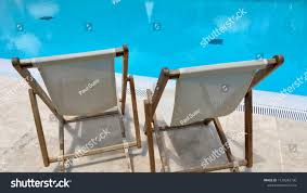 Two Sun Loungers Canvas Wood Lounge | Royalty-Free Stock Image