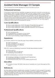 Resume Sample Hotel Management Trainee Curriculum Vitae Restaurant