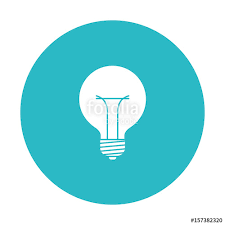 circle light blue with bulb light icon vector illustration stock