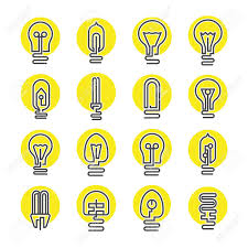 light bulb and led l icon set in modern thin line style