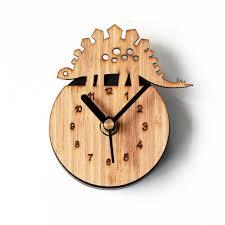 horloge de cuisine réfrigérateur aimant horloges cuisine horloge bambou bois dinosaure