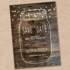 Mason Jar Save The Date Rustic Country Woodland Wedding Design With Barnwood