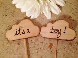 Baby Shower Cake Toppers Its A Girl Boy Wood Clouds Rustic Chic