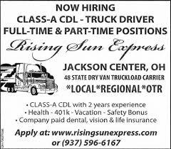 100 Class A Truck Driver Cdl Rising Sun Express Jackson Center OH