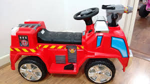 100 Power Wheels Fire Truck Red Engine Ride On Car Walkaround Kids Playtime