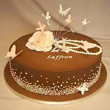 chocolate birthday cake flower necklace butterflies