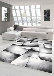 traum designer teppich moderner teppich wohnzimmer teppich kurzflor teppich konturenschnitt karo muster grau schwarz weiss größe 80x150 cm