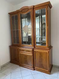 wohnzimmer vitrine schrank holz glas möbel eckschrank 3teile