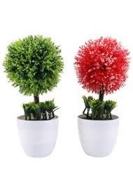 pretyzoom 2pcs künstliche pflanzen topf rot grün mini