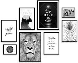 artfaves poster set wildlife deko tiere schwarz weiß 8 moderne wandbilder premium mix 30x40 21x30 13x18 bilder wohnzimmer schlafzimmer