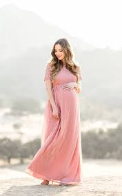 a flowy pink maternity maxi dress from the blog pinterest