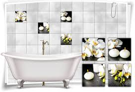 fliesen aufkleber fliesen bild orchideen kerzen wellness spa schwarz weiß deko bad wc