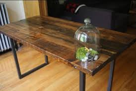 build reclaimed timber table top with metal legs table