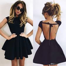 2017 new arrival little black short satin cocktail dresses 2016