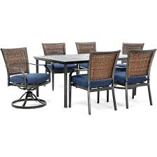 Hanover Mercer 7-Piece Aluminum Outdoor Dining Set With Navy Blue Cushions,  4 Dining Chairs, 2 Swivel Rockers And Table Fairy Contemporary Fabric Ding Chairs Set Of 2 Navy Blue Shelby Chair In Channel Tufted Velvet By Meridian Fniture Hanover Mcer 5piece Patio With 4 Cushioned And A 40inch Square Table Mercdn5pcsqnvy Colston Silver Leaf Including Brookville Harley Traditional Microfiber Details About Bates New Opal Room Gold William