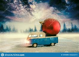 100 Balls For Truck Loading Christmas Snow And Pine Landscape Stock Image