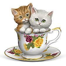 tea cup cat kitten figurine a teaspoon of daydreams
