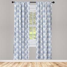 gardine fensterbehandlungen 2 panel set für wohnzimmer schlafzimmer dekor abakuhaus windröschen blaue blumen corsage kaufen otto