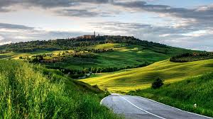 Download Fields Italy Town Road Hills Pienza Tuscany Clouds Flower Desktop Wallpaper