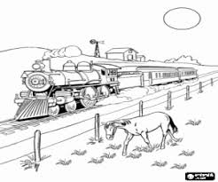 A Steam Train At Far West Advertisement High Speed Coloring Page