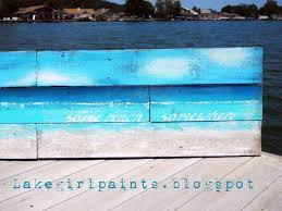 Pallet Painting Beach U Paint And Unwined Wood Red Wine Ocean Wall Art
