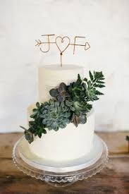 Buttercream Cake Topper Foliage Succulents Minimal Botanical Copper Greenery Wedding