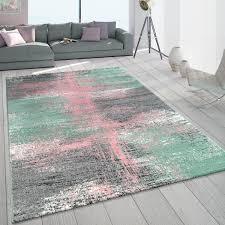 details zu teppich wohnzimmer modern in grau mint grün rosa pastell mehrfarbig vintage look