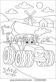 Cartoon Truck Car In Village Coloring Page Book Outdoor Sport Theme Funny