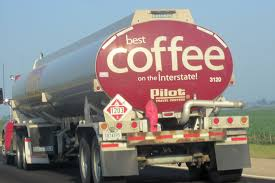 Tanker Truck On The Highway With A Best Coffee On The Interstate Ad ...
