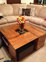 Coffee Tables Furniture Entrancing Brown Color Wooden Crates As Pertaining To Famous Square Shaped