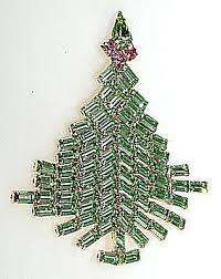 Dominique Baguette Rhinestone Christmas Tree Pin