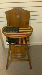 Hand Crafted High Chair. Painted With An American Flag   Chairs I ... Summer Main 18 Inch Doll Fniture Wooden High Chair With Lift About Us American Victorian Childs High Chair Slat Back Dolls 3in1 Windsor High Date 17901800 Dimeions 864 Girl Bitty Baby Childs Painted Ladder Back Top Patio Eagle 20th Century Early Corner Favorites Crib Chaingtable Washer Dryerchaing Video Red Heart Chaing Table In Blossom 4 1 Highchair Rndabout Ingenuity