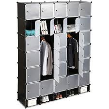 relaxdays schwarz kleiderschrank stecksystem 25 fächer groß 5 kleiderstangen schlafzimmerschrank hxb 234x180 cm standard