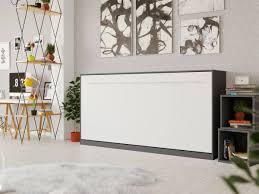 smartbett schrankbett standard 90 x 200 horizontal anthrazit weiss mit gasdruckfedern