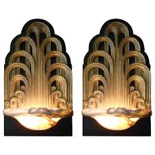 Make Cypress Knee Lamps by Pair Of Art Deco Fountain Sconces Wall Lights Theater Lamps Circa