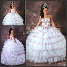 strapless red applique and hemline lace up ball gown white layered