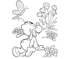 Baby Goofy Butterfly Flower Garden Disney Coloring Pages