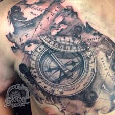 Travel For Tattoos That Illuminate Traveling Sundial Compass And Map Of The Bahamas Done By