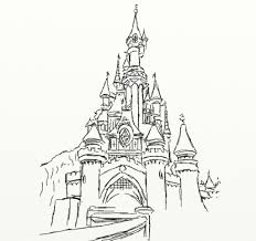 Disney Castle Drawing Coloring Page
