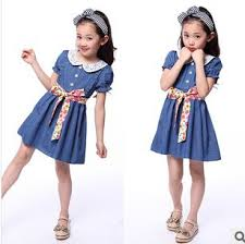 New 2014 Childrens Clothing Cotton Denim Dress Teenage Girl One Piece Child Vintage Princess