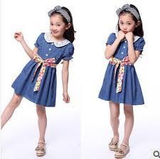 New 2014 Childrens Clothing Cotton Denim Dress Teenage Girl One Piece Child Vintage Princess