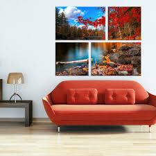 Conjunto De 4 Telas Decorativas Em Canvas Belo Outono Big