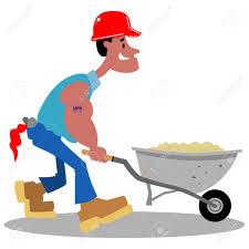 Cartoon construction worker pushing a wheelbarrow of sand Stock Vector