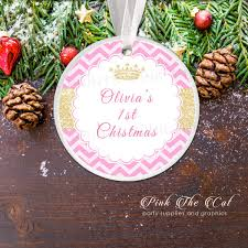 Personalized Christmas Ornament Glitter Gold Princess Pink The Cat