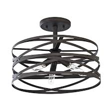 Who Makes Allen And Roth Ceiling Fans by Shop Allen Roth Winship 14 In W Bronze Metal Semi Flush Mount