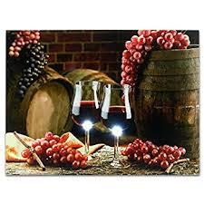 Grape Wall Decor For Kitchen by Amazon Com Led Wine Decor For Kitchen Red Wine And Grapes Led
