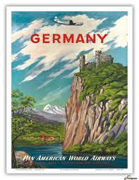 Germany Pan American World Airways Vintage Travel Poster Acrylic Print Canvas
