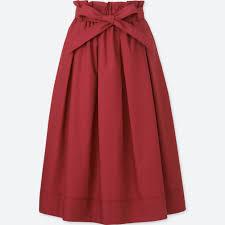 women high waist belted flare midi skirt uniqlo us