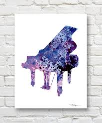 Piano Art Print Abstract Watercolor Painting Music Wall