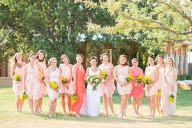 Coral And Pink Bridesmaid Dresses For Rustic Diy Backyard Weddings